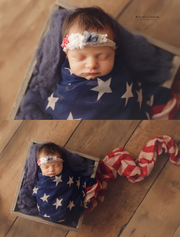 Newburgh, In Newborn photographer | Owensboro KY newborn photographer | Kentucky newborn photographer | Patriotic newborn set ups| Newborn poses | Newborn pose ideas | Newborn photography | Kerri Leach Photography | Newborns